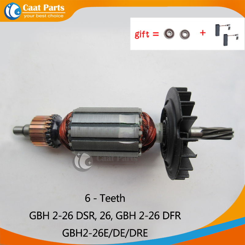 AC220-240V Armature Rotor Anchor Motor for Bosch GBH2-26DSR, GBH2-26DFR, GBH2-26E/DE/DRE,with 6 teeth shaft, Free shipping! high quality electric hammer drill boutique stator case plastic shell for bosch gbh2 28 gbh2 28d gbh2 28dfv