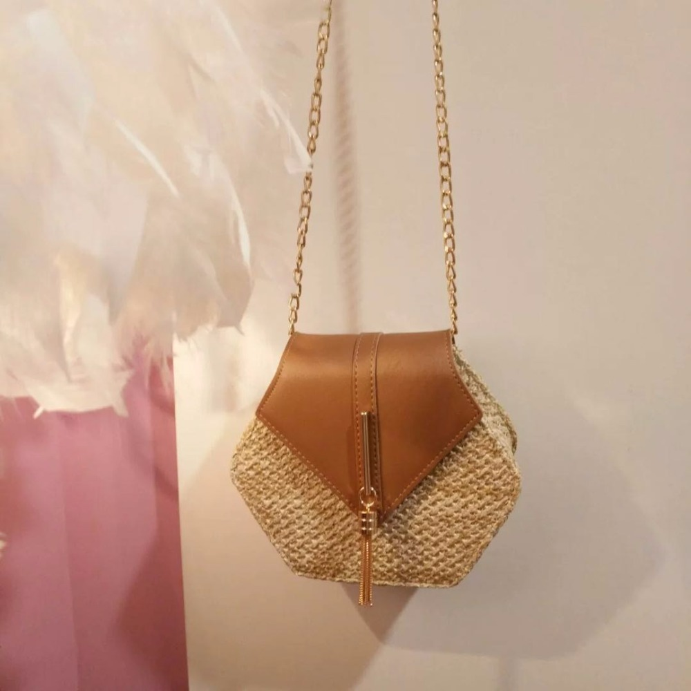 Hexagon Mulit Style Straw+leather Handbag Women Summer Rattan Bag Handmade Woven Beach Circle Bohemia Shoulder Bag New Fashion 8