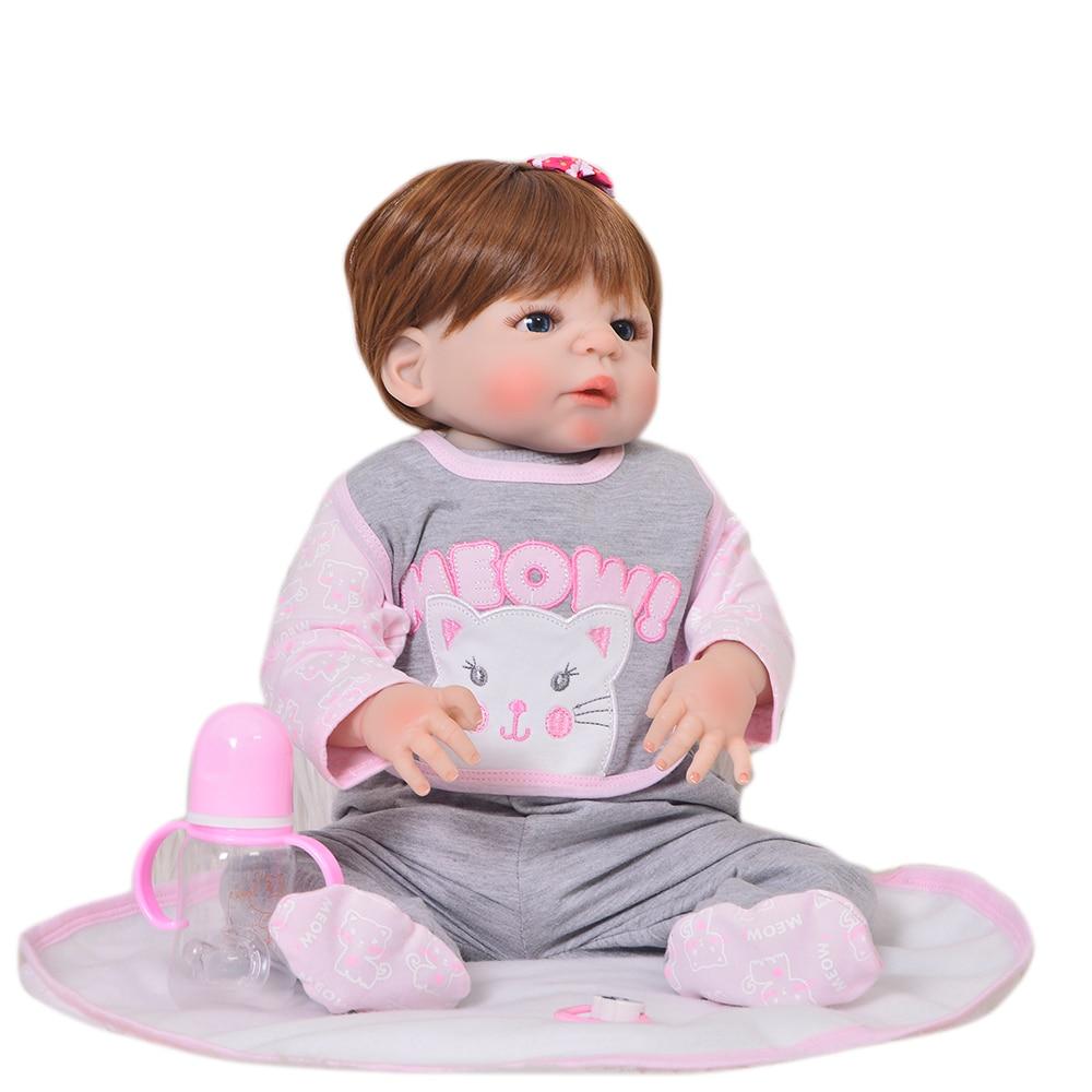 키미 패션 23 inch reborn dolls washable 57 cm 전체 실리콘 reborn baby dolls 소녀 현실적인 공주님 kids 생일 선물-에서인형부터 완구 & 취미 의  그룹 3