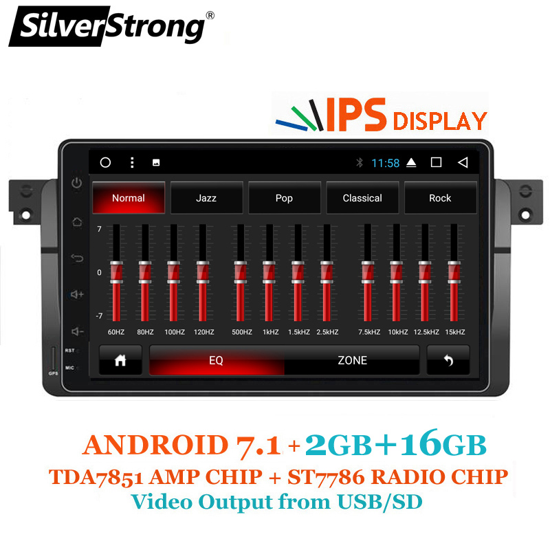 SilverStrong Android7.1 318 320i Android Voiture GPS Radio Pour BMW E46 315 328 M3 Rover 2 gb RAM Multimédia Autoradio TPMS