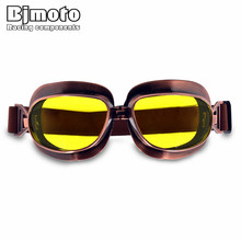 BJMOTO 10PCS Universal Vintage Motorcycle Goggles Pilot Aviator Motorbike Scooter Biker Glasses Helmet Goggles For Harley vintage motorbike motorcycle helmet mask retro open face jet scooter helmets universal motorcycle helmet goggles for harley