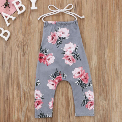 6c04df2b810 Sleeveless Toddler Baby Kids Girl Rompers Flower Halter Floral Romper  Jumpsuit Playsuit Clothes Gray 0-6Years