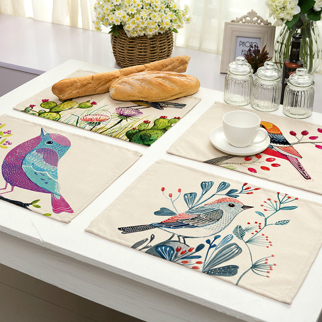 Flower Bird Printed Western Pad Cotton Linen Hand Painted Placemat Dining  Table Insulation Mat Coaster Kitchen