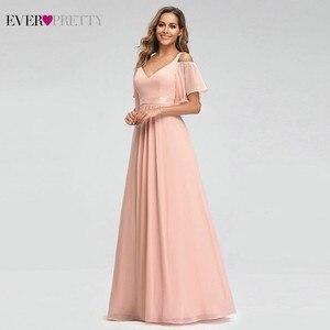 Image 5 - אי פעם די ורוד שושבינה שמלות אונליין V צוואר כבוי כתף אלגנטי ארוך שמלות לחתונה מסיבת גלימה מוסלין 2020