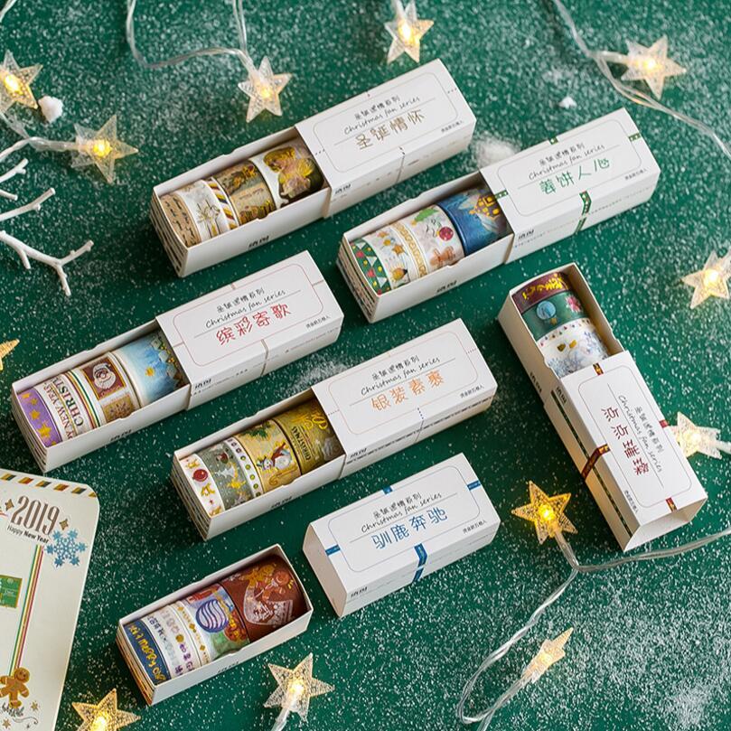 Adhesive-Tape Sticker Decorative Scrapbooking Christmas-Tree Gilding DIY Label 5-X Merry
