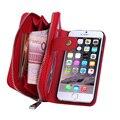 De alta calidad de cuero con cremallera 2 en 1 monedero case para apple iphone7 case bolsa de teléfono para iphone6 7 6 6 s 5/5S/se plus cubierta bolsas Capa