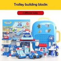 Hot 93 pcs transformável carros trole portátil bloco de construção de grandes Blocos de Construção crianças criativas brinquedos educativos Presente de Aniversário