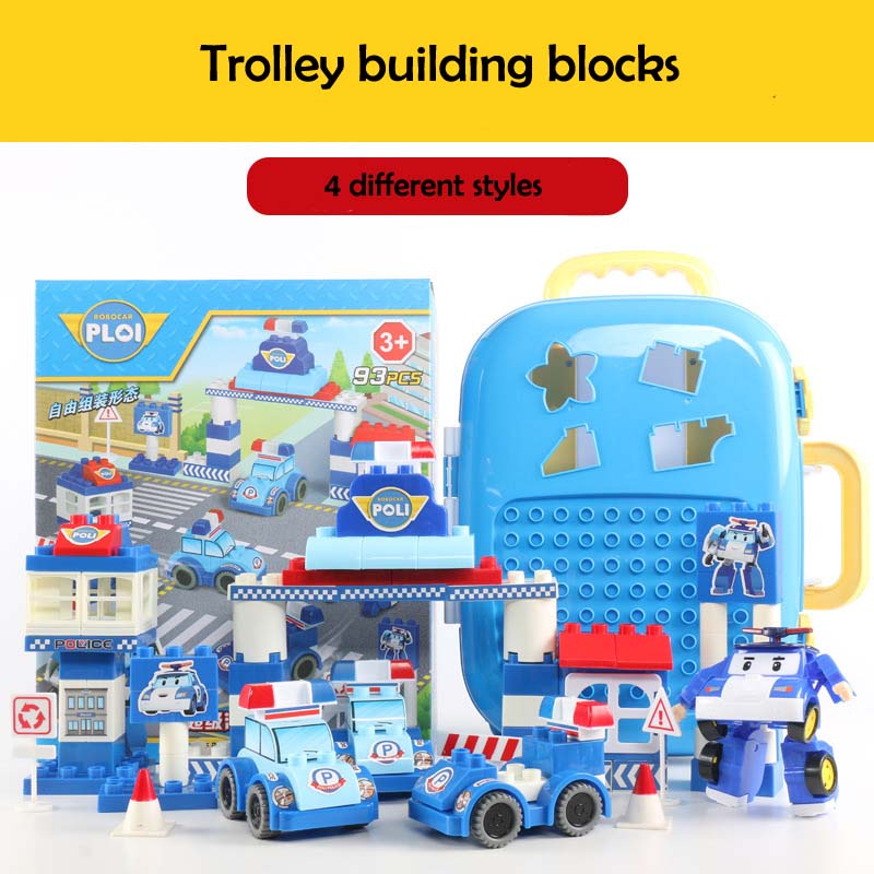 Toys & Hobbies Humor Hot 93pcs Transformable Cars Big Building Blocks Kids Creative Trolly Portable Building Block Educational Toys Birthday Gift Learning & Education