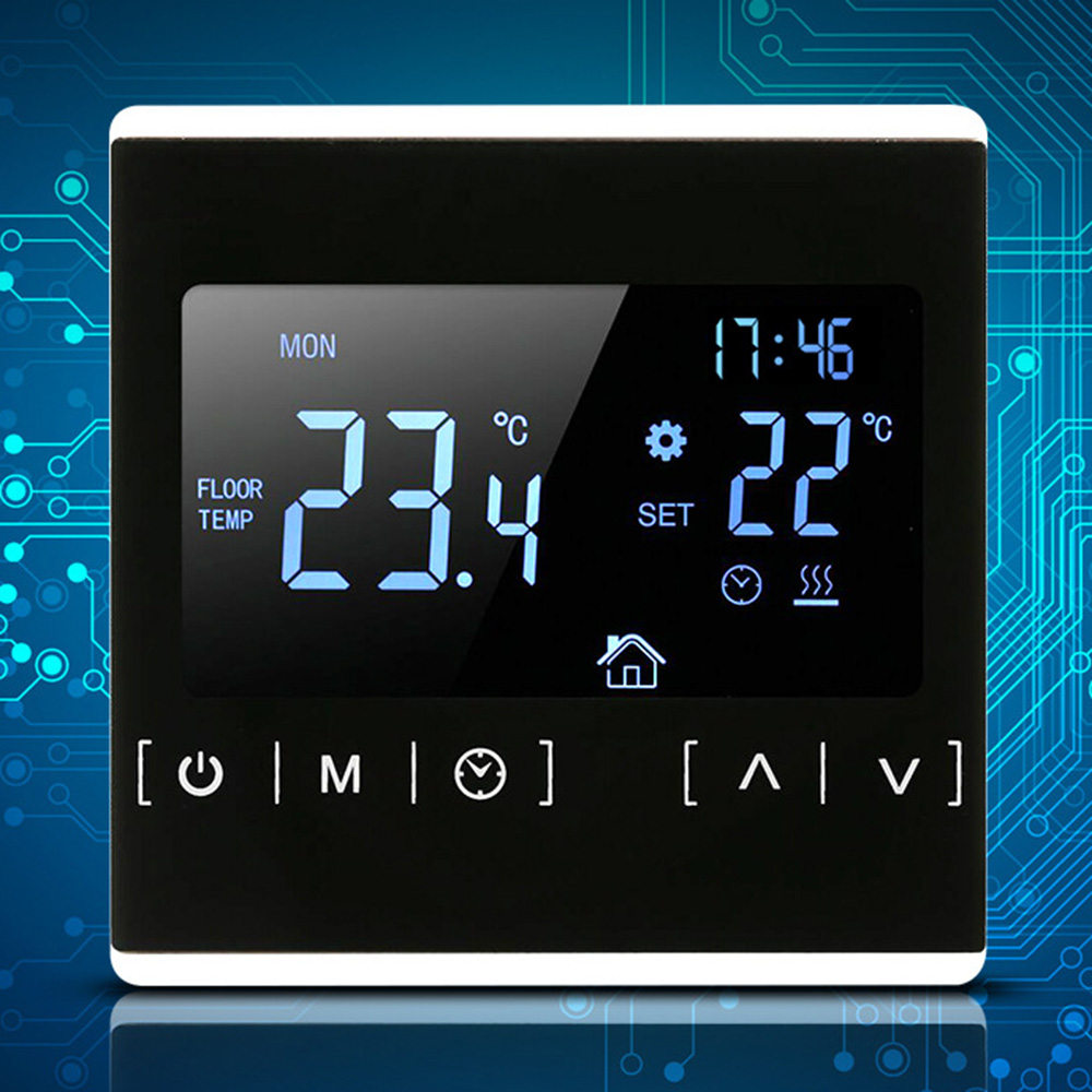 Temperature-Controller Back-Light Heating-Room Electric 230V All-Touch-Screen Black 110V