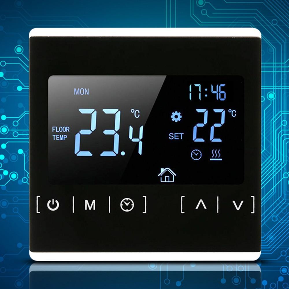 110 v 120 v 230 v todo o controlador de temperatura do tela táctil termoregulator preto luz traseira termostato da sala aquecimento elétrico