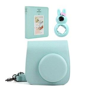 Image 5 - Capa de câmera de couro pu, 5 cores de qualidade + álbum de fotos + lente de selfie de coelho para fujifilm instax mini 9/mini câmera instantânea de filme 8