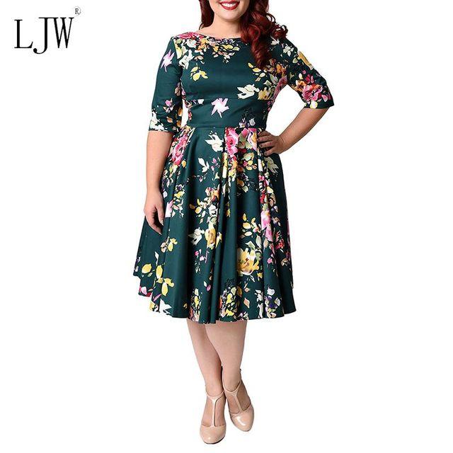 b6d4bb6ee2 2017 women dress fashion autumn ball gown Big size dress vintage retro  Print O neck half sleeve women dresses plus size Vestidos-in Dresses from  ...