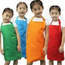 2018 Newest Hot Plain Apron Front Pocket Bib Kitchen Cooking Craft Baking Art Jamming Kids