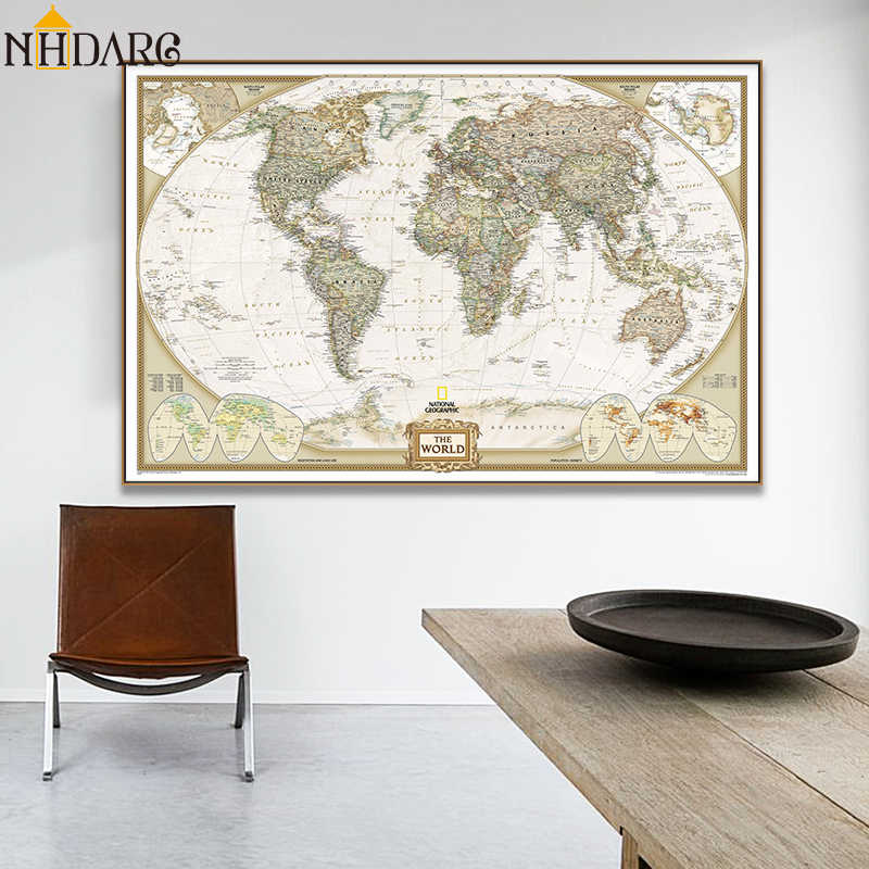 Vintage World Map Posters and Prints Canvas Painting Art Large Size on world maps history, world maps religion, old world map sale, world maps france, world maps software, world map globe sale, world maps games, world maps art, world maps furniture, world maps books,