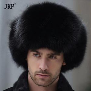 Image 2 - Russian leather bomber leather hat men winter hats with earmuffs trapper earflap cap man real raccoon fur black fox hatska
