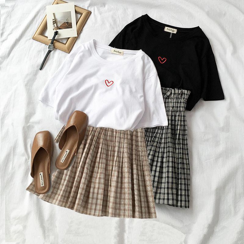 Two Piece Set Summer 2019 Sweet T Shirt Plaid Skirts 2 Piece Set Women's Festival Fashion Clothes Plus Size College Skirt Suit