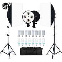 Studio Photo 8 LED 20W Kit Softbox Kit d'éclairage photographique appareil Photo & accessoires Photo 2 support lumineux 2 Softbox pour appareil Photo