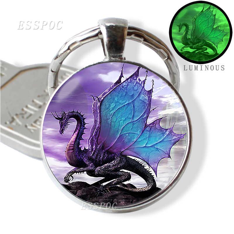 Brillan en la oscuridad dragón llavero Steampunk dragón cristal cabujón llavero hecho a mano regalos para hombres para mujeres joyería luminosa