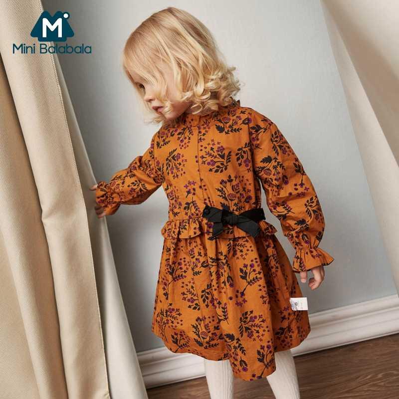 MiniBalabala/Детское платье с цветочным принтом и оборками для девочек, платья с длинными рукавами и галстуком-бабочкой для маленьких девочек, детская одежда