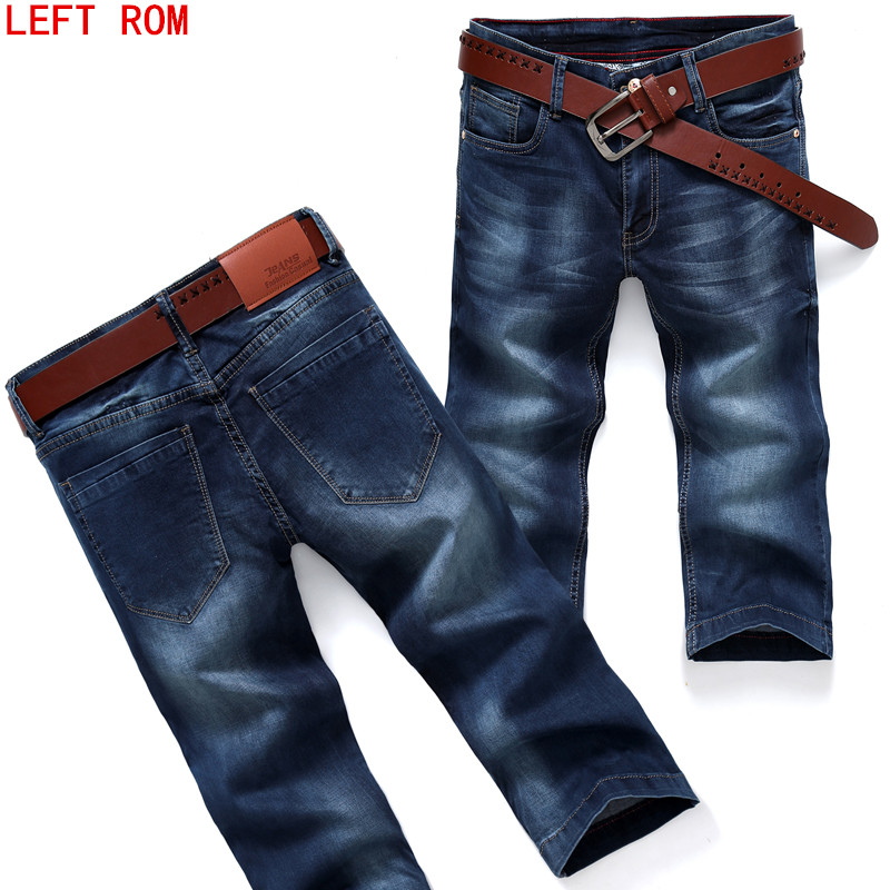 2017 Summer New Mens Shorts Solid Color for Travel Cowboy Fashion Trouser Cool Cropped cowboy man Seven points Jeans