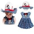 Мода 2016 новое поступление девочек летом комплект платье + шляпа фантазии Infantil костюмы детская одежда костюм Bebe одежда детская одежда
