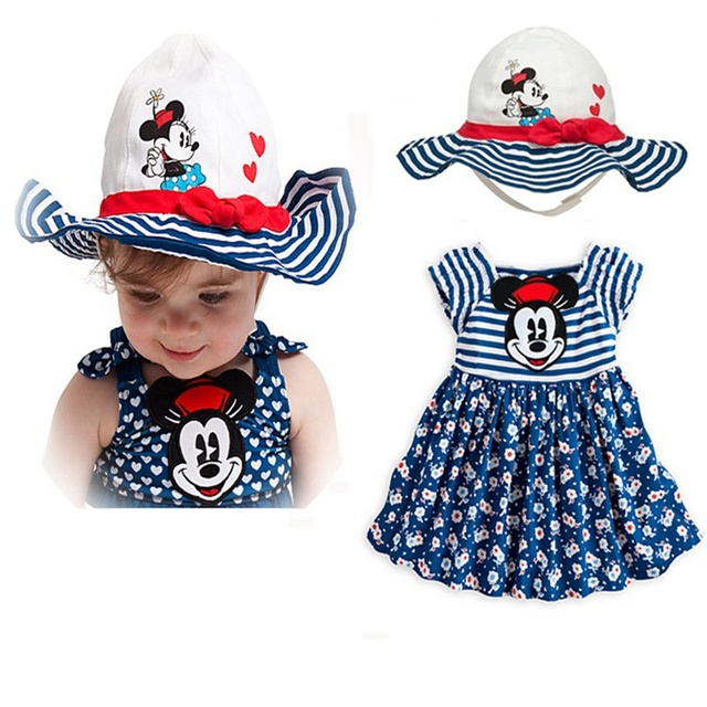 Fashion 2016 New Arrival Girls Summer Set Dress + Hat Fantasias Infantil Outfits Kids Clothes Suit Bebe Wear Childrens Clothing
