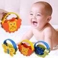 1 pcs crianças sino de madeira crianças brinquedo instrumento musical de percussão de madeira dos desenhos animados chocalhos animal bebê sino fun toys presente