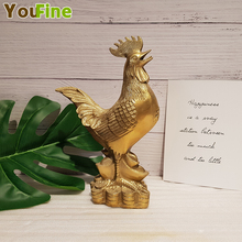 Bronze Golden Chicken Ingot Lucky Zodiac Home Indoor Decoration Feng Shui Crafts