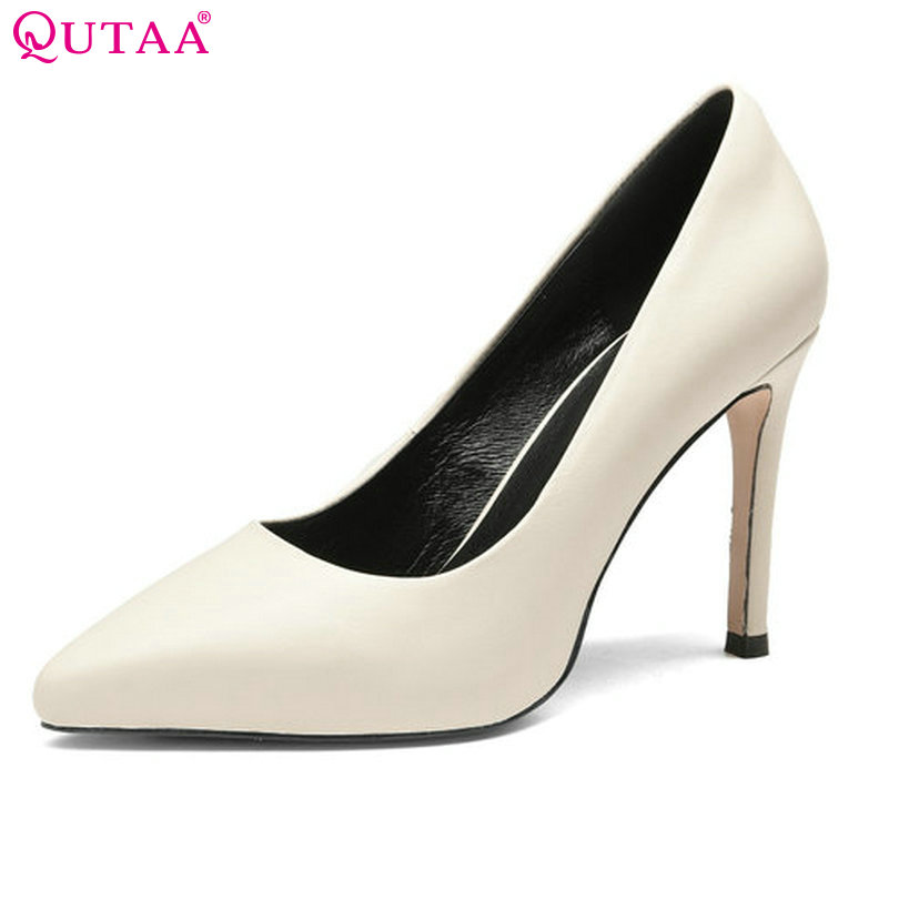 QUTAA 2018 Women Pumps Thin High Heel Woman Shoes Pointed Toe Elegant Genuine Leather Solid Ladies Wedding Shoes Size 34-39 nesimoo 2018 women pumps pointed toe thin high heel genuine leather butterfly knot ladies wedding shoes slip on size 34 39
