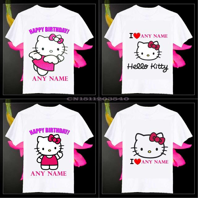 Free Shipping 2015 New Beautiful Angel Hello Kitty Personalized Name Kids Birthday Gift O Neck Cotton Camisetas Unisex T Shirt