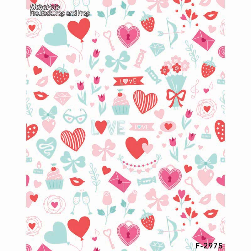 valentine' day Vinyl cloth photography backdrop Computer Printing background for photo studio backdrop F-2975 8x10ft valentine s day photography pink love heart shape adult portrait backdrop d 7324