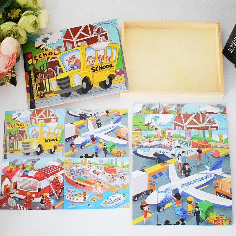Crianças Brinquedo de Madeira Puzzle Tamanho Pequeno 15*15 centímetros Puzzles Brinquedo Educativo Jigsaw Puzzle de Madeira Para Crianças Bebê Dos Desenhos Animados - 4