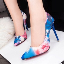 2016 Nueva Sexy zapatos de Tacón Alto Dulces OL de Las Mujeres Zapatos de cuero del Ante zapatos de Tacón Alto de Las Mujeres Bombas Stiletto Flor Vestido de Novia zapatos