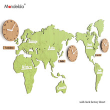New Attractive Designs 1.37m Wooden Vintage World Map Wall Clock DIY Silent Quartz Watch Home Decor Sticker Room