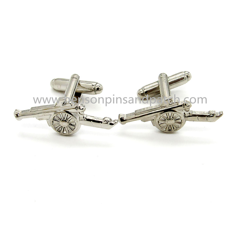 Custom sliver finishing metal soft enamel cannon cufflink