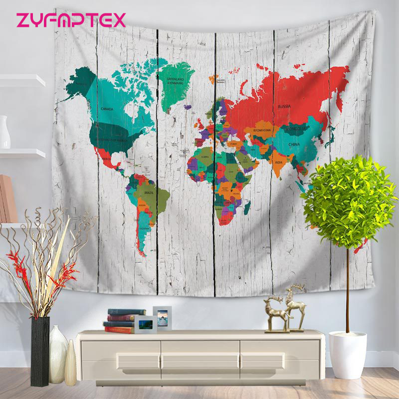 ZYFMPTEX World Map Pattern Indian Mandala Blanket Eco-friendly Hippie Tapestry Yoga Mat Blanket Camping Mattress Bikini Cover Up