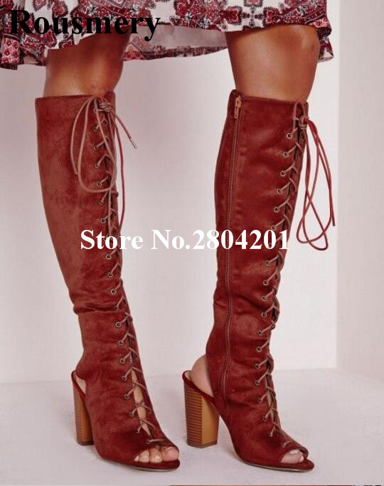 Rousmery модная обувь из флока на шнуровке с открытым носком сапоги Для женщин с перекрестной шнуровкой толстый устойчивый каблук Вечерние обу