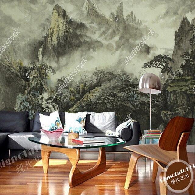 Chinesische landschaft tapeten, berge, wasserfall, nebel, haus ...