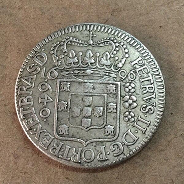1696 Бразилия 640 Reis-Педро II Silver КОПИЯ монета