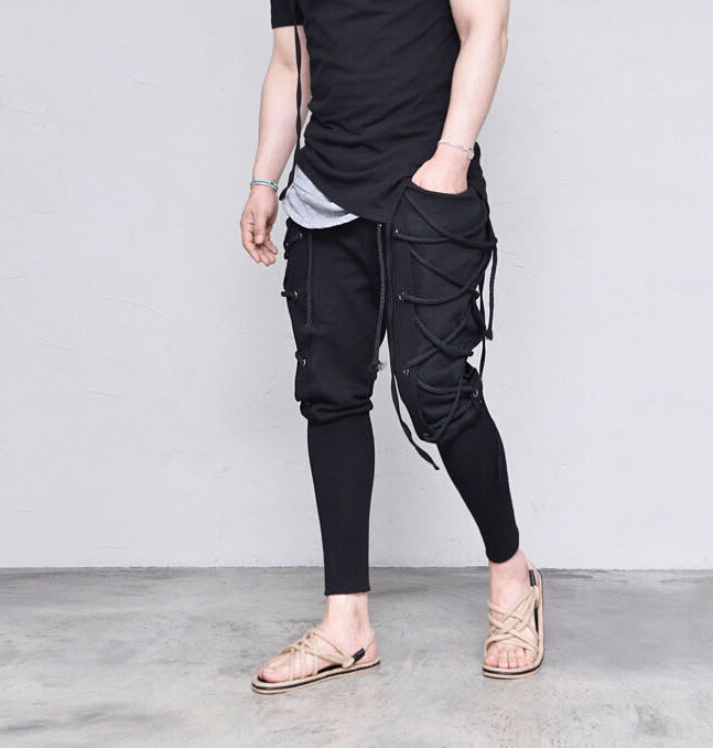 Men Cool Streetwear Pants Retro Bandage Harem Lace Up Trousers Men Jogger Pants Loose Plus Size Joggers