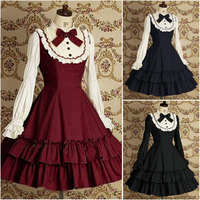 Long Sleeve Classic Gothic Style Lolita Dresses 18th Century Retro Cotton Lace Bow Princess Dress For Women 3 Colors