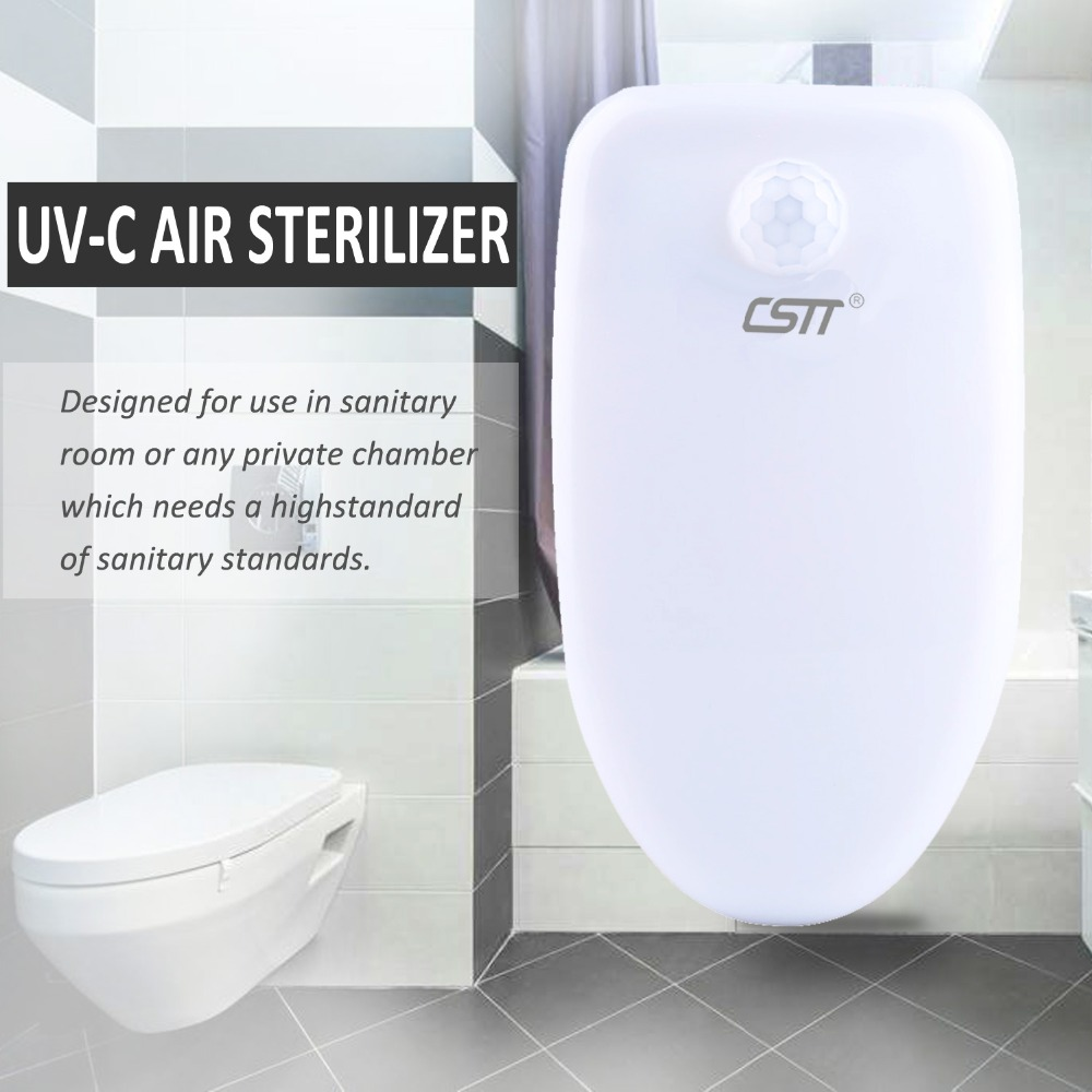 CSTT Pluggable UV lamp Air Sterilizer and Deordorizer, Negative Ions Air Purifier with Toilet Senitizing light (EU/UK/US/CN)CSTT Pluggable UV lamp Air Sterilizer and Deordorizer, Negative Ions Air Purifier with Toilet Senitizing light (EU/UK/US/CN)