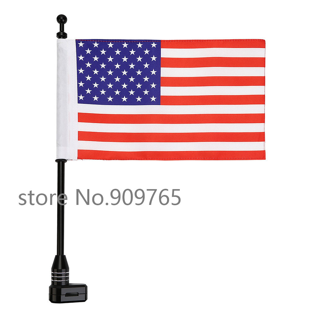 Black Motorcycle Rear Side Mount Flag Pole American Flag For Harley Luggage Rack partol black car roof rack cross bars roof luggage carrier cargo boxes bike rack 45kg 100lbs for honda pilot 2013 2014 2015