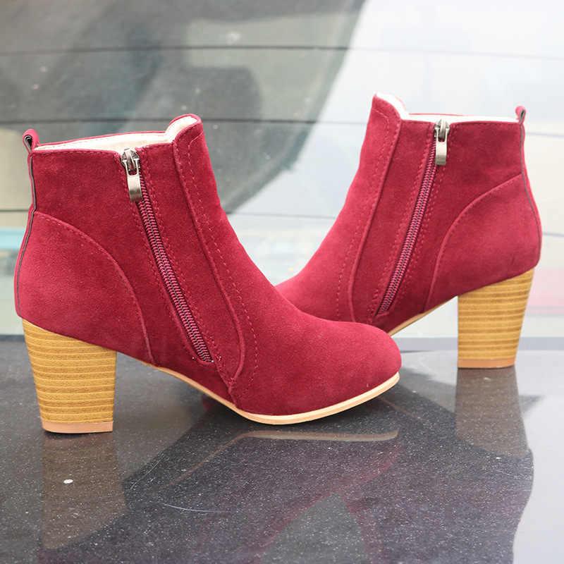 Sıcak Sonbahar Kış Kadın Çizmeler Katı Avrupa Bayanlar ayakkabı Martin çizmeler Süet Deri yarım çizmeler kalın fırçalayın boyutu 35- 41