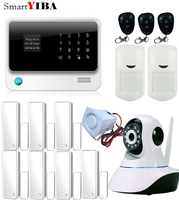 SmartYIBA WIFI Wireless Alarm System APP Remote Control SMS GSM Alarm Kits With 8 Wired Zones