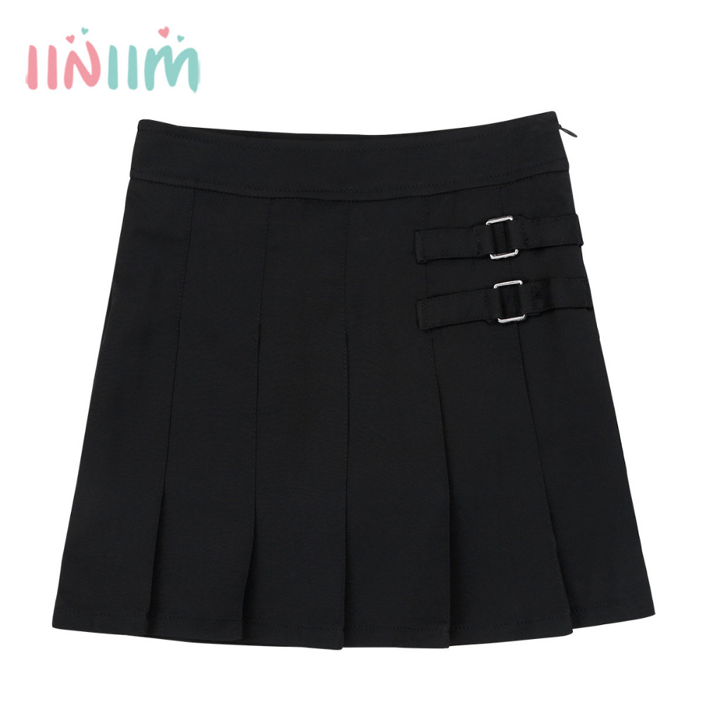 iiniim Girls School Uniform Pleated Side Zipper Scooter Skirt with Hidden Shorts Teenagers Skirts Formal Daily Wear