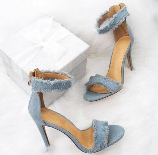 2017 Summer Hot Blue Distressed Denim Open Toe Sandals Ladies Fashion High Heels Zipper Back Female Dress Shoes Sexy Stiletto denim zipper hollow worn stiletto womens sandals