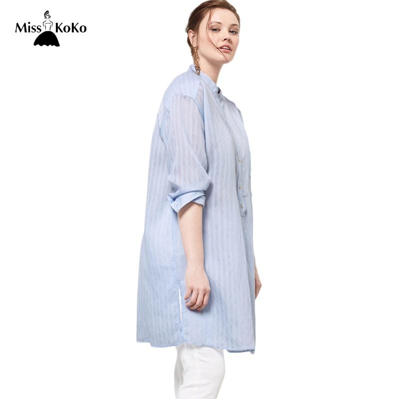 Misskoko Women Plus Size Semi Sheer Button Down Shirt Dress Long Sleeve Stripe Turn Down Collar Dress Big Size Loose Shirt Dress