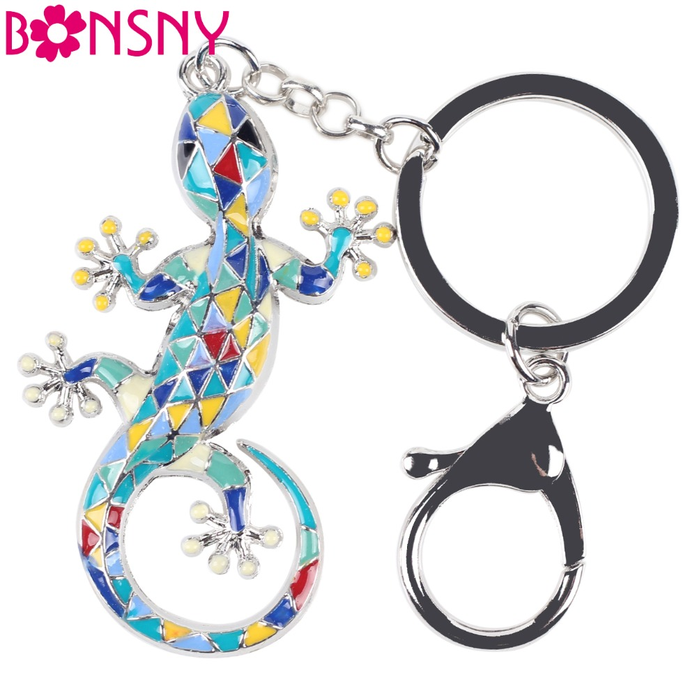 Bonsny 2016 Enamel Alloy Gecko Lizard Alloy Metal Key Chain Key Ring Pom Gift For Women Girl Bag Charm Keychain Pendant Jewelry