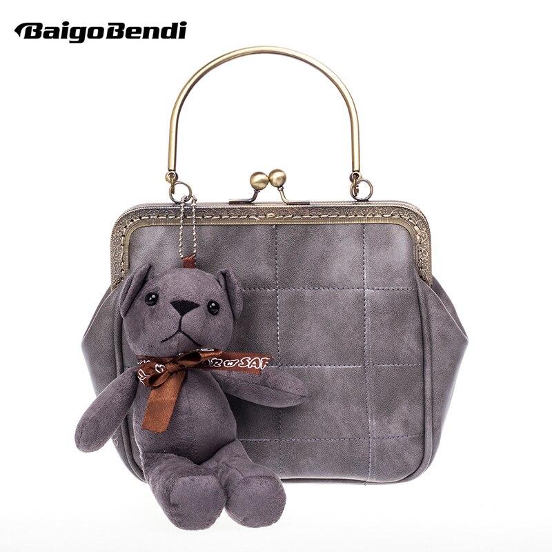Retro Frame Ladies Metal Chain Clutch Coin Purses Womens Mini Bear Flap Crossbody Messenger Evening Bag Girls Gift
